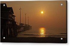 Ocean Dawn Wind Turbines Acrylic Print by Daniel Lowe