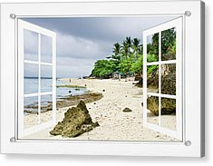Ocean Front Beach Open White Picture Window Frame Canvas Art Vie Acrylic Print