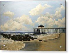 Acrylic Print featuring the painting Ocean Grove Fishing Pier by Ken Ahlering