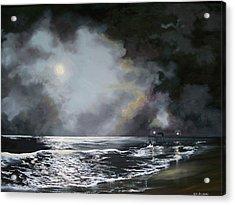 Acrylic Print featuring the painting ocean grove moon II by Ken Ahlering