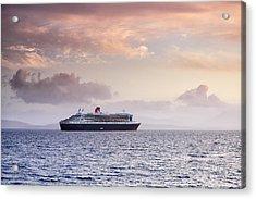 Ocean Liner Sunset Acrylic Print by Grant Glendinning
