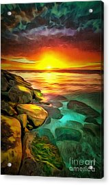 Ocean Lit In Ambiance Acrylic Print