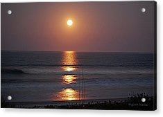 Ocean Moon In Pastels Acrylic Print by DigiArt Diaries by Vicky B Fuller