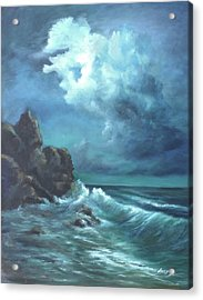 Acrylic Print featuring the painting Seascape And Moonlight An Ocean Scene by Katalin Luczay