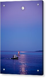 Ocean Moonrise Acrylic Print by Steve Gadomski