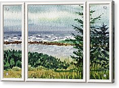 Ocean Shore Window View Acrylic Print by Irina Sztukowski
