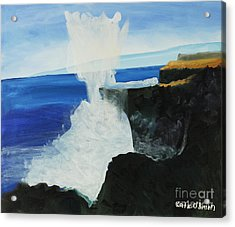 Ocean Spray At Blowhole Acrylic Print by Katie OBrien - Printscapes