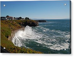 Ocean Spray In Santa Cruz Acrylic Print by Garnett  Jaeger