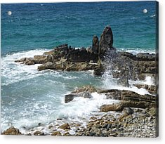 Ocean Spray Mid-air Acrylic Print by Margaret Brooks