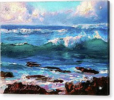 Coastal Ocean Sunset At Turtle Bay, Oahu Hawaii Beach Seascape Acrylic Print
