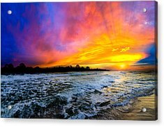 Acrylic Print featuring the photograph Ocean Sunset Landscape Photography Red Blue Sunset by Eszra Tanner