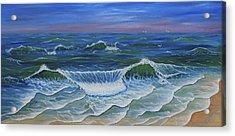 Acrylic Print featuring the painting Ocean Waves Dance At Dawn Original Acrylic Painting by Georgeta Blanaru