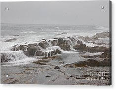 Acrylic Print featuring the photograph Ocean Waves Over Rocks by Frank Stallone