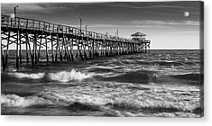Acrylic Print featuring the photograph Oceana Ocean Crest Fishing Pier In Nc Panorama In Bw by Ranjay Mitra
