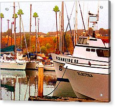 Acrylic Print featuring the digital art Oceanside Harbor by Timothy Bulone