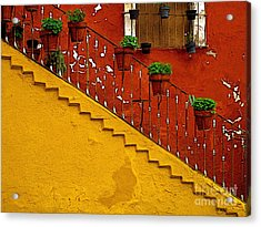 Ochre Staircase With Red Wall 2 Acrylic Print by Mexicolors Art Photography