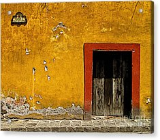 Ochre Wall With Red Door Acrylic Print by Mexicolors Art Photography