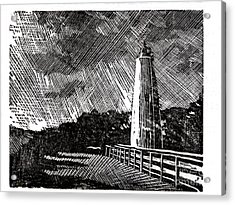 Acrylic Print featuring the painting Ocracoke Island Lighthouse II by Ryan Fox