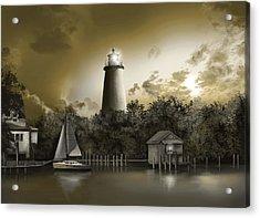Ocracoke Lighhouse Sepia Acrylic Print