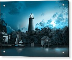 Ocracoke Lighthouse Blue Acrylic Print