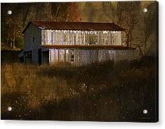 October Barn Acrylic Print by Ron Jones