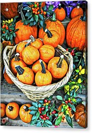 Acrylic Print featuring the photograph October Pumpkins by Joan Reese