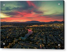 October Sunrise Harveston Lake Temecula Acrylic Print
