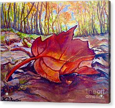 Ode To A Fallen Leaf Painting Acrylic Print by Kimberlee Baxter