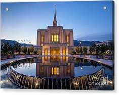 Odgen Lds Temple Sunrise Reflection 2 - Utah Acrylic Print