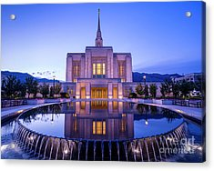 Odgen Lds Temple Sunrise Reflection - Utah Acrylic Print