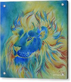 Of Another Color Blue Lion Acrylic Print by Summer Celeste
