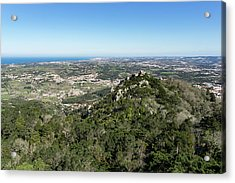 Of Castles And Vistas - An Aerial View Of Moors Castle At Sintra Portugal Acrylic Print by Georgia Mizuleva