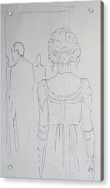 Off To Dinner - Line Illustration Of A Young Woman In A Twenties Period Dress Acrylic Print by Mike Jory
