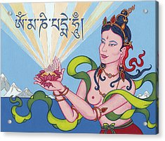 Offering Goddess With Mantra 'om Mani Padme Hum' Acrylic Print by Carmen Mensink