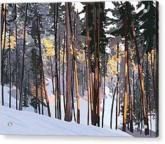 Office View Winter Alpenglow Acrylic Print