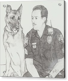 Officer Jack Dunn And K9 Starbuck Acrylic Print by D Phillis Cook