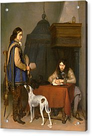 Officer Writing A Letter, With A Trumpeter Acrylic Print by Gerard ter Borch