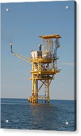 Offshore Gas Platform Acrylic Print by Bill Perry