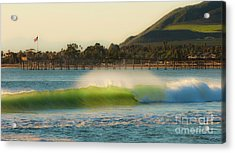 Offshore Wind Wave And Ventura, Ca Pier Acrylic Print by John A Rodriguez