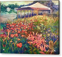 Acrylic Print featuring the painting Ogunquit Gardens At Waterside Restaurant by Gail Allen