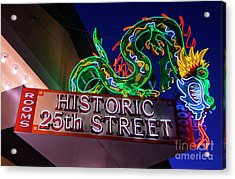 Ogden's Historic 25th Street Neon Dragon Sign Acrylic Print by Gary Whitton
