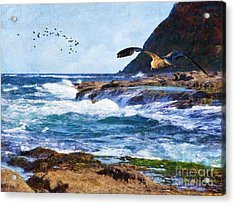 Acrylic Print featuring the painting Oh The Wind And The Waves by Lianne Schneider