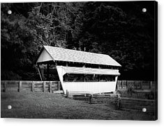 Ohio Covered Bridge In Black And White Acrylic Print by Tom Mc Nemar