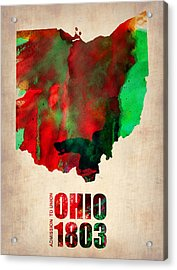Ohio Watercolor Map Acrylic Print by Naxart Studio