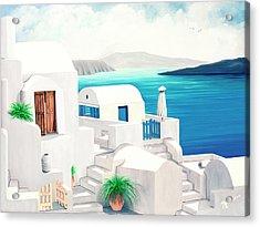 Oia On Santorini - Prints From My Oil Paintings Acrylic Print