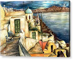 Oia Santorini Greece - Watercolor Acrylic Print