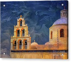 Acrylic Print featuring the photograph Oia Sunset Imagined by Lois Bryan