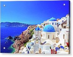 Oia Town On Santorini Island, Greece. Caldera On Aegean Sea. Acrylic Print