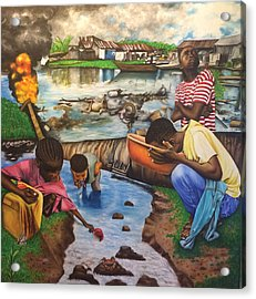 Oil- Africans' Wealth And Woe Acrylic Print