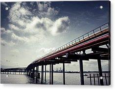 Oil Bridge Acrylic Print by Joseph Westrupp